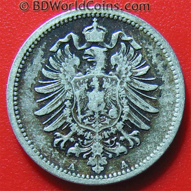 Germany Empire 1874 A 20 Pfennig Silver 16mm German Collectable World Coin Km 5 Ebay