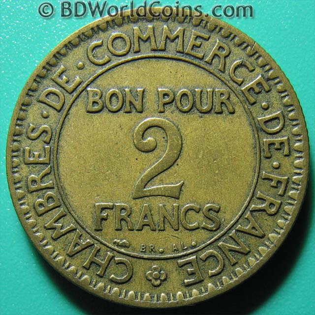1926 france 2 francs commerce chamber french collectable for Chamber of commerce france