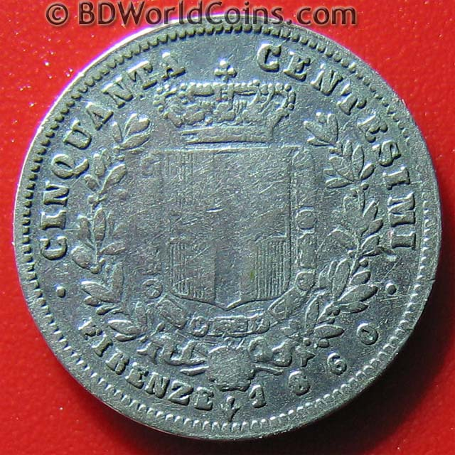 Tuscany italy 1860 50 centesimi silver firenze 2nd for Coin firenze